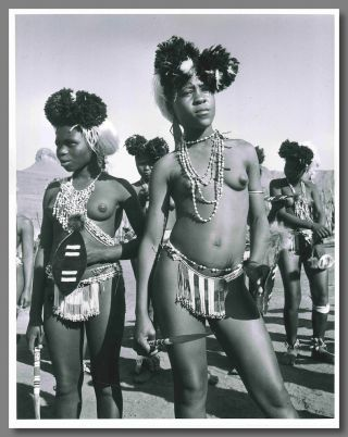 Original Gelatin Silver Print Portrait Photograph of Two Zulu Tribeswomen in Ceremonial Dress]....