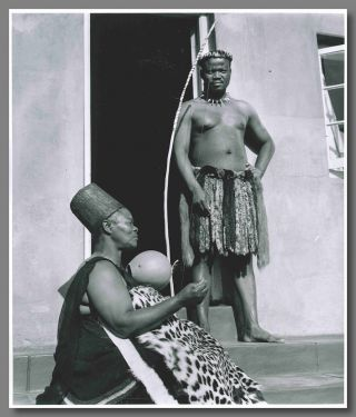 Original Gelatin Silver Print Portrait Photograph of Mangosuthu Buthelezi and His Mother]. Yousuf...