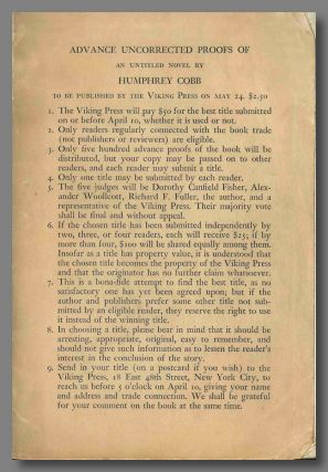 A NOVEL (AS YET UNTITLED). Humphrey Cobb