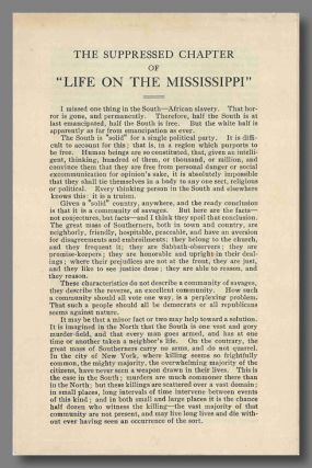 "THE SUPPRESSED CHAPTER OF ""LIFE ON THE MISSISSIPPI"" [caption title]. Samuel Clemens"