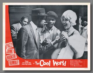 Pictorial Lobby Card for:] THE COOL WORLD. Warren Miller, Shirley Clarke, sourcework, director