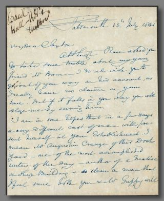 Autograph Letter, Signed]. Basil Hall