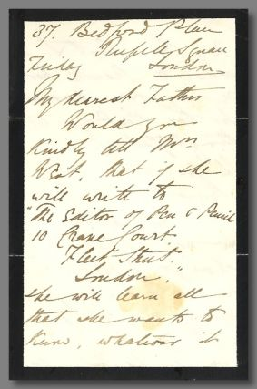 "Autograph Letter, Signed (""E: Lynn"") To ""My Dearest Father"" (likely W. S. Landor)]. Eliza Lynn..."