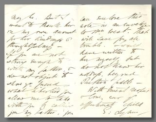 """[Autograph Letter, Signed (""""E: Lynn"""") To """"My Dearest Father"""" (likely W. S. Landor)]."""