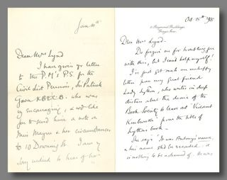 Two Autograph Letters, Signed, to Sylvia Lynd]. Edward Marsh