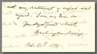 Autograph Letter, Signed, to George Pope Morris]. Washington Irving