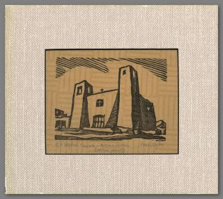 "Inscribed Linoleum Cut Print of:] ""ST. STEPHEN CHURCH, ACOMA PUEBLO."" Paul Horgan"