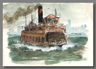 "Original Signed Ink and Watercolor Drawing of:] ""Ferry Boat Lackawanna."" Paul Horgan"