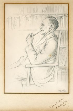 Original Pencil Portrait, Signed and Dated, of H. M. Tomlinson]. Percy John Smith, 1882 - 1948