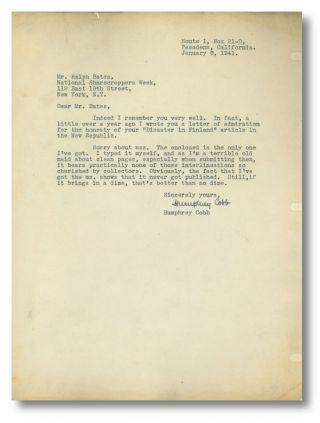 Typed Letter, Signed, Accompanied by a Partial Typescript of:] A PROMINENT PLACE. Humphrey Cobb