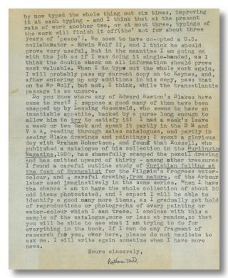 Typed Letter, Signed, About Editorial Work on Blake]. William Blake, Ruthven Todd