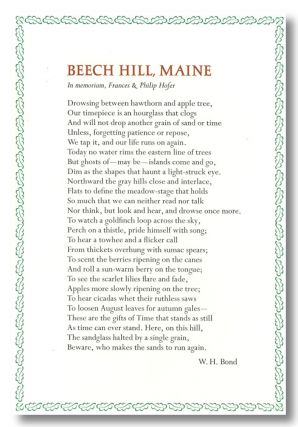 BEECH HILL, MAINE IN MEMORIAM, FRANCES & PHILIP HOFER [caption title]. illiam, Frances Hofer,...