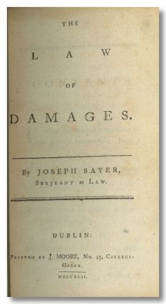 THE LAW OF DAMAGES. Joseph Sayer