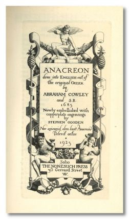 ANACREON DONE INTO ENGLISH OUT OF THE ORIGINAL GREEK BY ABRAHAM COWLEY AND S.B. 1683 NEWLY...
