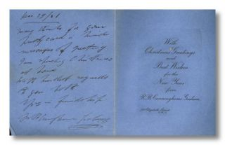 Autograph Note, Signed, on Christmas Card]. Robert B. Cunninghame Graham