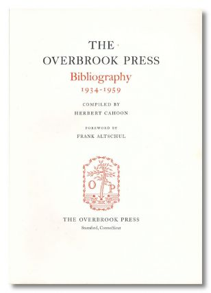 Specimen Signature from:] THE OVERBROOK PRESS BIBLIOGRAPHY 1934 - 1959