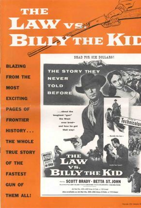 Original Studio Press Book for:] THE LAW VS. BILLY THE KID. Black List, screenwriter, Bernard Gordon