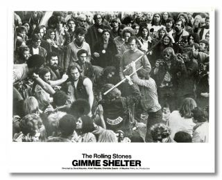 Original Publicity Still of Key Scene in:] THE ROLLING STONES GIMME SHELTER. Altamont Music Festival